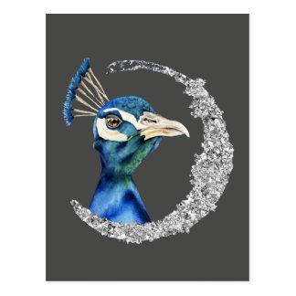 PfauWatercolor mit Imitat-silbernem Glitzer Postkarte