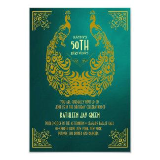 Pfauzwanziger jahre Kunst-Deko-50. 8,9 X 12,7 Cm Einladungskarte