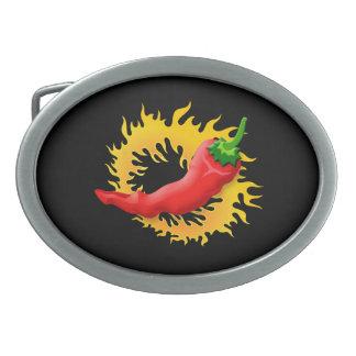 Pfeffer mit Flamme Ovale Gürtelschnallen