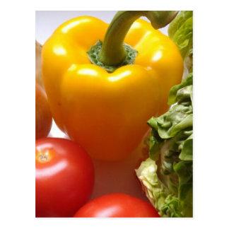 Pfeffer-Tomate-Gemüse-Kopfsalat-gesunde Nahrung Postkarte