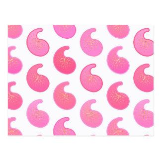 Pfefferminz rosa Paisley auf Weiß Postkarte