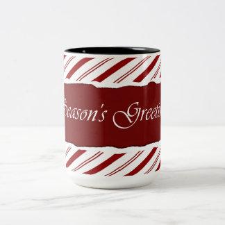 Pfefferminz-Streifen-rote u. weiße Tasse