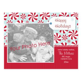 Pfefferminz-Süßigkeit rot und blauer Feiertag Postkarte