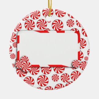 Pfefferminz-Süßigkeit w/Tag Keramik Ornament