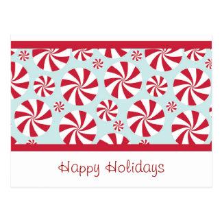 Pfefferminz-Süßigkeits-roter und blauer Feiertag Postkarte