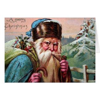 Pfeife blaue Robe-Weihnachtsmanns - Weihnachten Karte