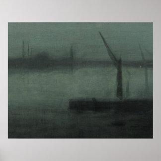 Pfeifer James McNeill - Notturno-Blau und Silber Poster