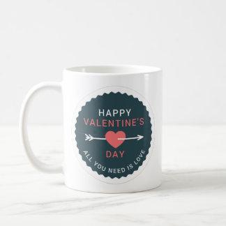 Pfeil-Herz-glücklicher Valentinstag Kaffeetasse
