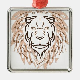 Pfeil-Löwe Silbernes Ornament