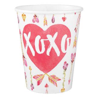 """Pfeil-Valentinstag XOXO der Herz-""""n"""" Pappbecher"""