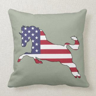"""Pferd """"amerikanische Flagge """" Zierkissen"""