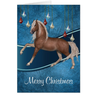 Pferd auf Blau mit Band-frohe Weihnacht-Karte 2 Karte