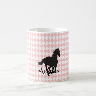 Pferd auf Diamant-Muster-Schablone Kaffeetasse
