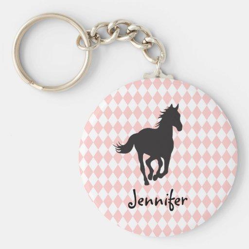 Pferd auf Diamant-Muster-Schablone Schlüsselanhänger
