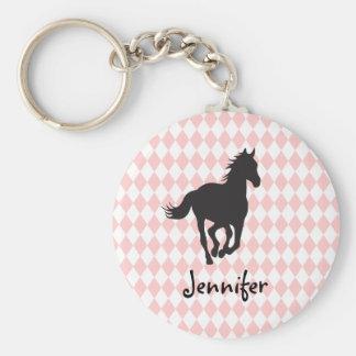 Pferd auf Diamant-Muster-Schablone Standard Runder Schlüsselanhänger