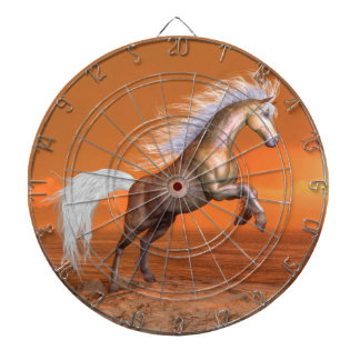 Pferd, das durch Sonnenuntergang aufrichtet - 3D Dartscheibe