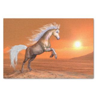 Pferd, das durch Sonnenuntergang aufrichtet - 3D Seidenpapier