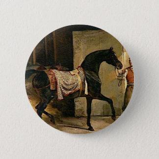 Pferd, das einen Stall durch Theodore Gericault Runder Button 5,1 Cm