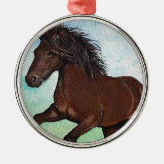 Pferd, das frei läuft silbernes ornament