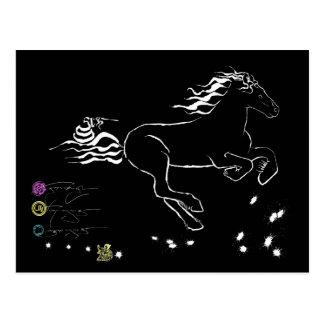 Pferd, das nach rechts (WB) [Postkarte, galoppiert Postkarten