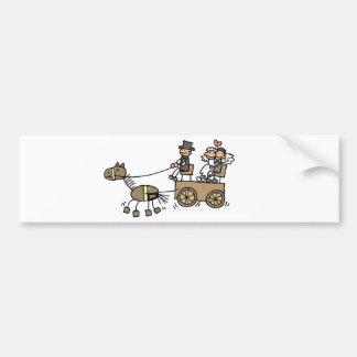 Pferd gezeichneter Wagen für Hochzeiten Autoaufkleber