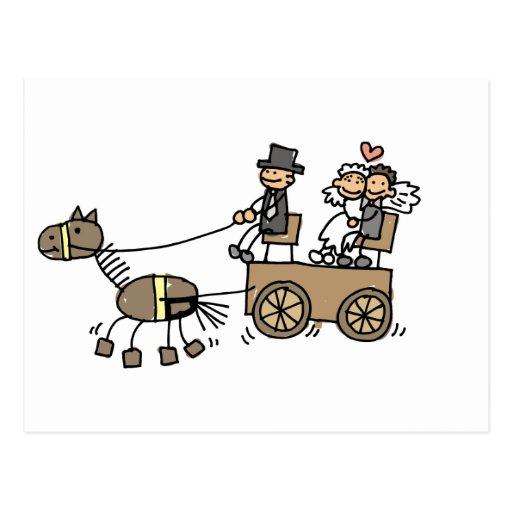 Pferd gezeichneter Wagen für Hochzeiten Postkarte