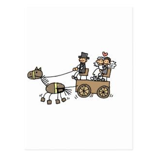 Pferd gezeichneter Wagen für Hochzeiten Postkarten
