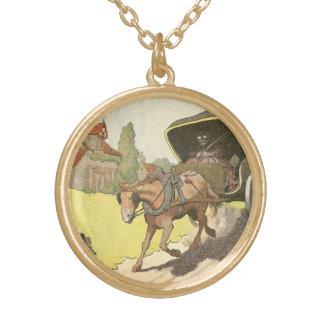 Pferd gezeichneter Wagen illustriert Vergoldete Kette