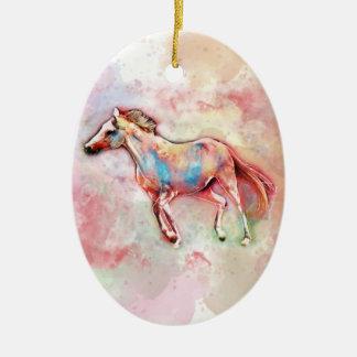 Pferd im Aquarell Keramik Ornament