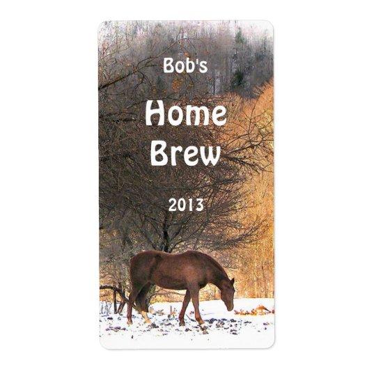 Pferd im Winter-Bier-Aufkleber Großer Adressaufkleber