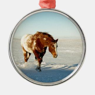Pferd im Winter Silbernes Ornament