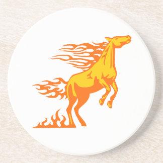 Pferd in den Flammen Sandstein Untersetzer