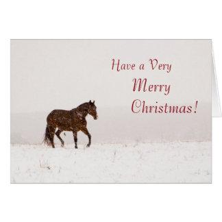 Pferd in der Schnee-frohe Weihnacht-Karte Karte