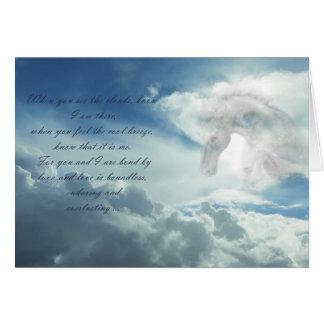 Pferd in der Wolken-Beileidskarte Karte
