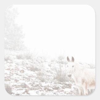 Pferd mit Winter-Jahreszeit-Schnee und Nebel Quadrataufkleber