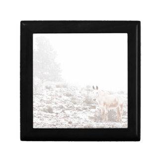 Pferd mit Winter-Jahreszeit-Schnee und Nebel Geschenkbox