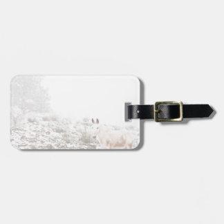 Pferd mit Winter-Jahreszeit-Schnee und Nebel Adress Schild