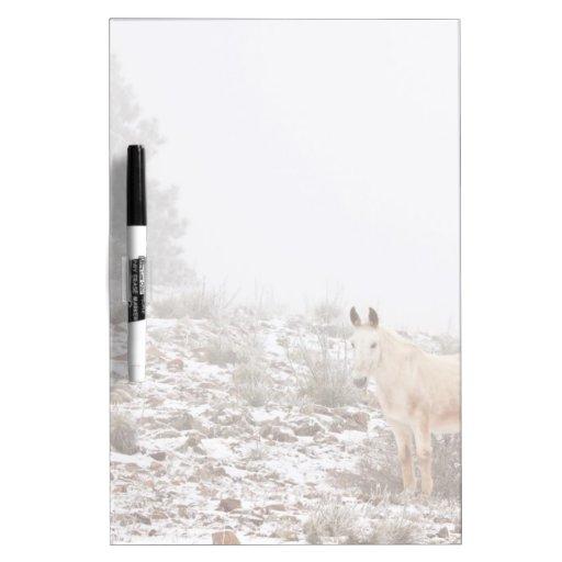 Pferd mit Winter-Jahreszeit-Schnee und Nebel Memo Board