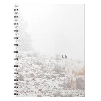 Pferd mit Winter-Jahreszeit-Schnee und Nebel Notizbuch