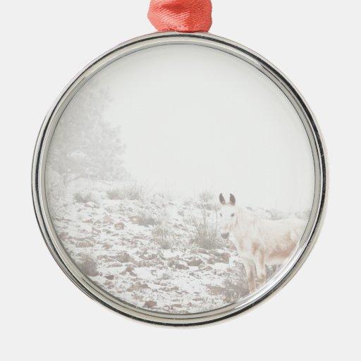 Pferd mit Winter-Jahreszeit-Schnee und Nebel Weinachtsornamente