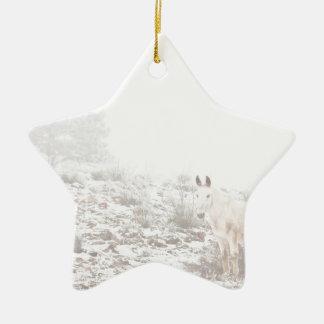 Pferd mit Winter-Jahreszeit-Schnee und Nebel Ornamente