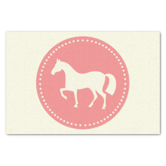 "Pferd/Pony 10"" x 15"" Seidenpapier (Creme u. Rosa)"