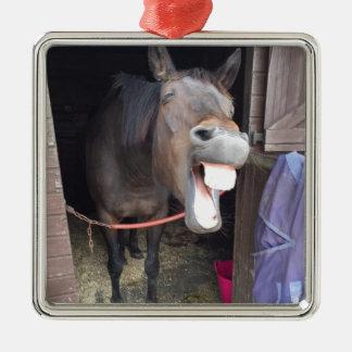Pferd Quadratisches Silberfarbenes Ornament