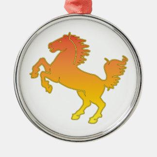 Pferd Rundes Silberfarbenes Ornament