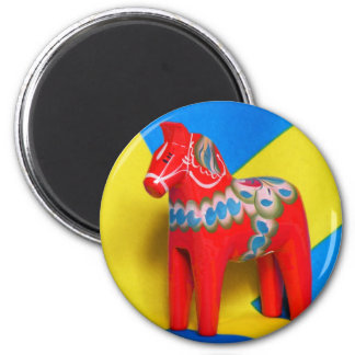 Pferd Schwedens Dala Runder Magnet 5,7 Cm