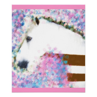 Pferd u Blumen Poster