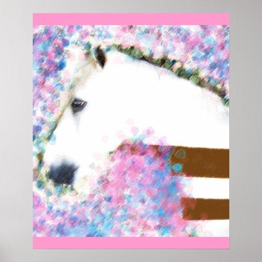 Pferd u. Blumen Poster