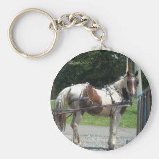 Pferd und Buggy Standard Runder Schlüsselanhänger