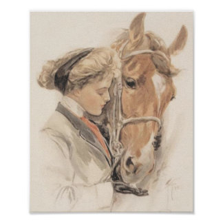 Pferd und Dame Poster Vintage