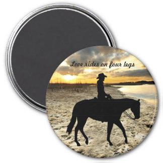 Pferd und Reiter-Magnet Runder Magnet 7,6 Cm